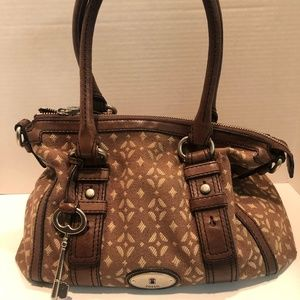 Fossil Maddox Signature Satchel Canvas/ Leather